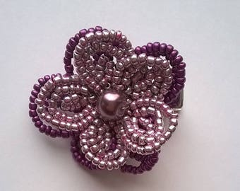 Lavender and Purple French Beaded Flower Hair Clip - Wedding, Bridsmaid, Prom