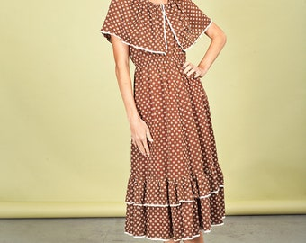 60s Brown Daisy Ruffle Dress Vintage Summer Over the Shoulder Dress