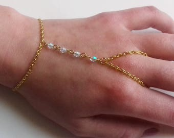 Crystal Slave Bracelet , Gold Slave Chain , Clear Ab Crystal Bracelet , Clear Bead Bracelet , Handmade Jewelry , Handmade Gift , Bridal