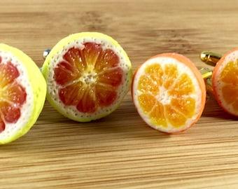 Citrus polymer clay cufflinks