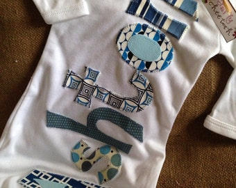 Personalized appliqué infant gown, boy baby gown, boy infant layette, coming home oufit, shower gift, navy blue fabrics