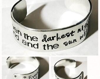 Custom quote multi font 3/4 inch personalized aluminum cuff bracelet