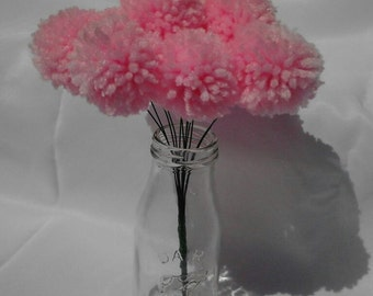 12 Light pink yarn pom pom flowers. Pom pom bouquet centerpieces. Wedding/ baby shower decorations.
