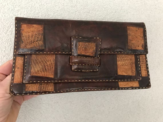 Vintage brown leather and snakeskin leather clutch or purs