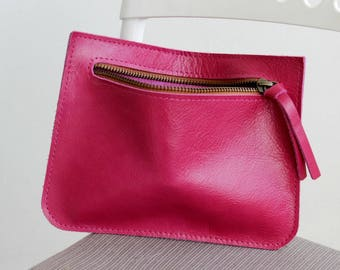 Sale , Zipper pouch wallet , Cosmetic bag ,Red leather pouch wallet , Red small wallet women ,  Cosmetic case ,