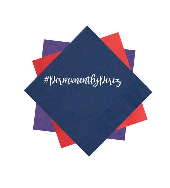 Hashtag napkins, wedding napkins, reception napkins, Personalized napkins, monogrammed napkins, foil stamped napkins, custom napkins