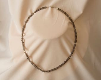 Smoky Quartz Faceted Necklace, Sterling Silver