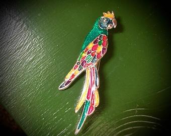 Multicolor Enamel Parrot Brooch Jewel Tone Enameled Pin