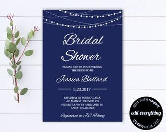 Navy Blue Bridal Shower Invitation Template - Bridal Shower Invite - Printable Invite Wedding Shower - Printable Bridal Invitation