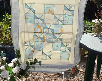 """Caterine wheel quilt in """"guess how much i love you"""" fabric Quilt/Playmat"""