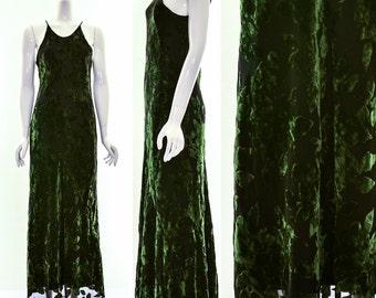 Green Silk Gradient Velvet Bias Cut Racer Back Dress Mermaid Dress Flutter Column Dress Supermodel Dress Goddess Maxidress Side Cleavage s m