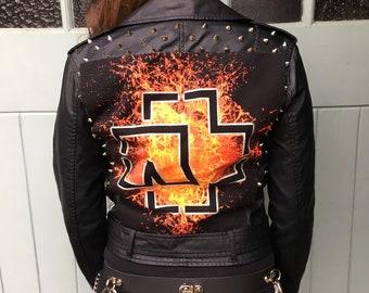 Rammstein Studded Black Leather Battle Jacket Ladies