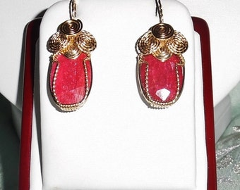 26cts Natural Earth Mined Oval Red Ruby gemstones, 14kt yellow gold Pierced Earrings