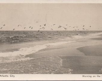 Atlantic City, 1947 Used Postcard,  Morning on the Beach, good shape