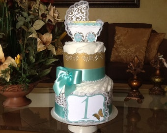 Neutral diaper cake/Gold and Teal diaper cake/Carriage centerpiece /Elegant diaper cake/Elegant Baby shower centerpiece