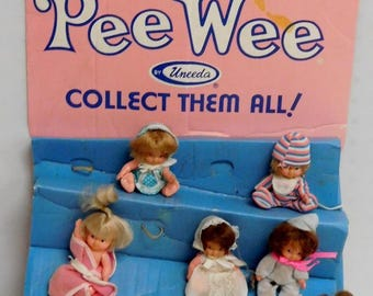 Vintage Pee Wee Doll Lot With STORE DISPLAY By Uneeda *******1970's*********