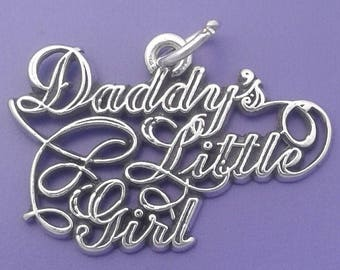 DADDYS LITTLE GIRL Charm .925 Sterling Silver Father Daughter Pendant - lp2892
