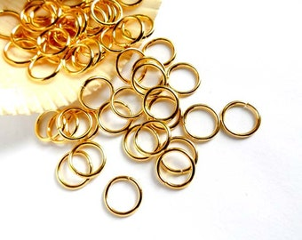 50/100 Gold Plated Jump Rings 10mm, Open Loop - 8-6