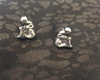 Mermaid Earring Studs Made Of Sterling Silver