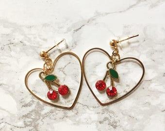 CHERRY EARRINGS HOOPS - cherry earrings studs - hoop earrings - fruit earrings - heart shaped earrings - heart hoops - heart earrings