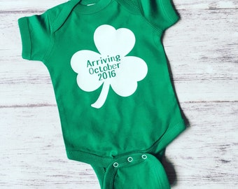 pregnancy announcement shirt, new baby announcement, grandparent pregnancy announcement, St. patricks Day pregnancy announcement, pregnancy