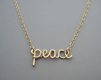 Peace Necklace - gold filled cursive word spiritual choker, inspirational jewelry for women, christian gifts