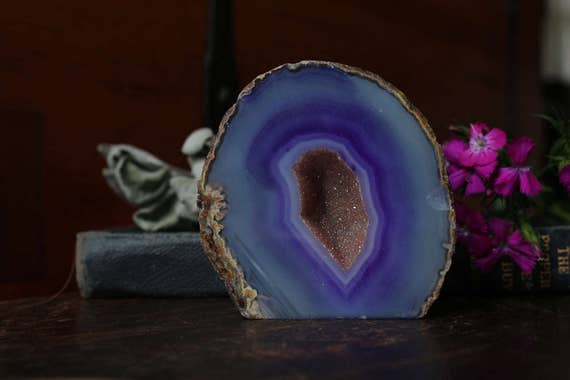Purple Small Agate Geode 355g, Small Geode, Raw Agate, Agate Druzy, Agate Crystal, Little Geode,  Mini Agate Geode, Collectible Geodes