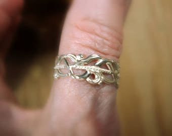 Filigree band ring 8mm wide in solid silver, sterling.  Light & comfy.  Your size.  Custom made in USA by me. thumb ring or any finger.