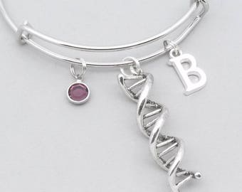 DNA charm bracelet with monogram initial | personalised DNA science jewelry | DNA bangle | science genetics gift