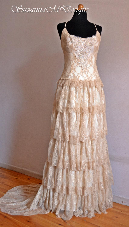 boho wedding dress cream wedding dress lace wedding dress