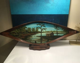 Vintage Folk Art Hand Carved Wood Canoe with Image of Cabin in the Louisiana Bayous Swamp Wetlands