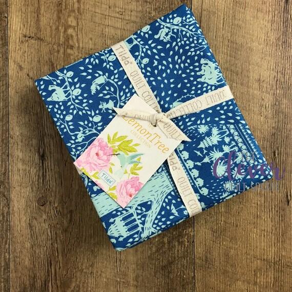 Tilda USA, 5 pcs, Fat Quarter Bundle, Lemon Tree, Floral, Australian, Superior Quality, White, Blue, Teal, Pink, Precut, Quilting Fabric