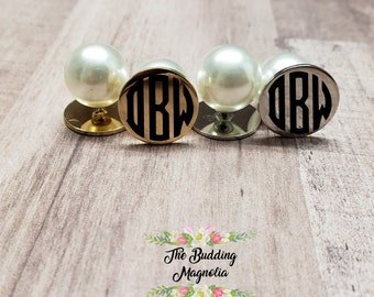 monogrammed pearl earrings, personalized pearl earrings, monogrammed peekaboo earrings, faux pearl earrings, reversible earrings, pearl back