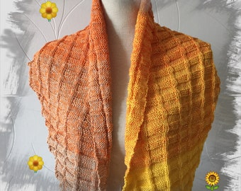 Shawl, cape, poncho, shawl, spring/summer collection is handmade with cotton and acrylic, wool for women, gradient orange beige yellow