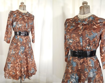 Vintage 1950s Dress - 50s Small Shirtwaist Day Dress | Brown Fit and Flare Dress