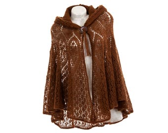 Crochet cape with hood - Brown open front cardigan sweater - Hand knit open cardigan - Knit hooded poncho - Women's poncho hoodie