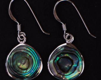 Earring in 925 sterling silver and natural abalone