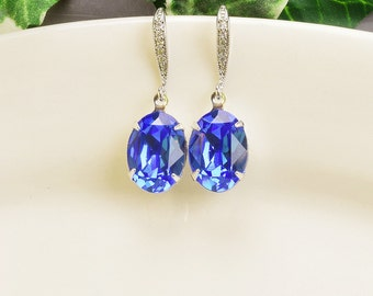 Sapphire Earrings - Swarovski Earrings - Royal Blue Earrings - Crystal Drop Earrings Silver - Bridesmaids Earrings - Bridesmaid Jewelry