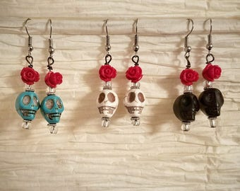 Skull Earrings, Women's Earrings, Dangle Skull Earrings, Day of the Dead Earrings, Sugar Skull Earrings, Gothic Earrings, Skull Jewelry