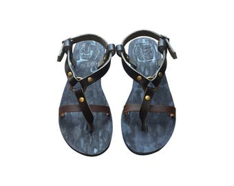 The Inspirator - Black-Brown / Blue Leather Sandals for Men & Women - Lightweight Design - Black Handmade Leather Sandals