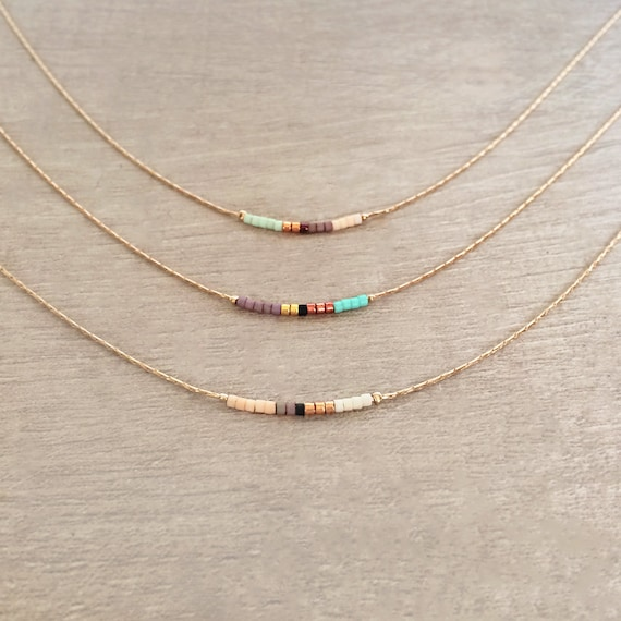birthstone bar beaded il listing layering necklace dainty