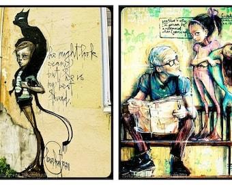 Graffiti Street Art Retro Poetic Art Black Cat Halloween Grungy Art Aqua Yellow Mermaid, Set of (2)  Fine Art Prints