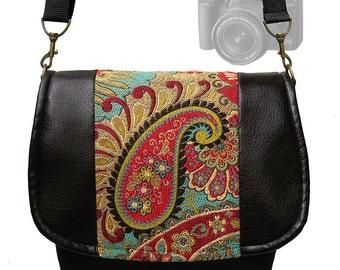 Digitale SLR-Kamera Tasche Dslr Vegan schwarzem Leder Kamera Tasche Geldbörse bunten Paisley Gobelin Tasche Zipper Pocket gepolsterte Kameratasche MTO