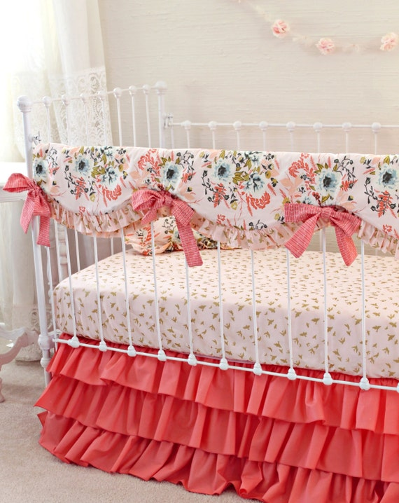 Blush Pink And Coral Crib Bedding Girl Pink Gold Nursery