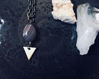 Amethyst Triangular Mod Pendant | Short Necklace | Natural Treated Purple Stone | Simple and Modern | Geometric | Brass and Gold