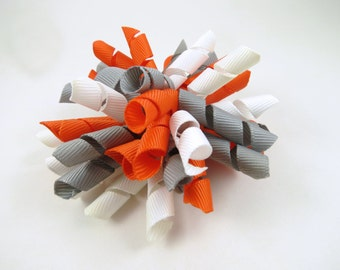 Gray Orange and White Korker Hair Bow  -  Orange Hair Bow - White Hair Bow - Grey Gray Hair Bow - Korker Hair Clip - Korker Hair Bow