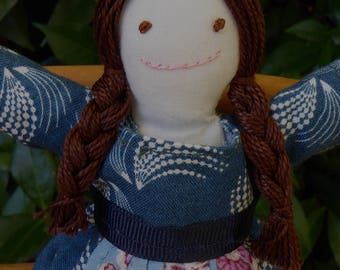 Hand made small rag doll -  Abby in blue print dress with blue apron