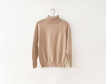 Vintage Beige Cotton Turtleneck Sweater