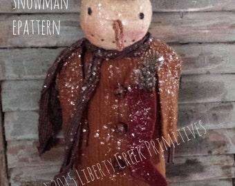 Primitive Fred the Snowman Epattern Digital Download pdf Sewing Pattern