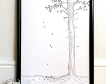 Wall art, black and white art, prints wall art, gifts for her, gifts for nature lover, art print, pine trees, tree art, pen and ink, line dr